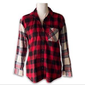EDDIE BAUER Boyfriend Fit Flannel Shirt Plaid